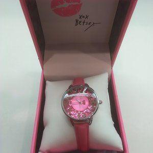 Betsey Johnson New Hot Pink Confetti Watch